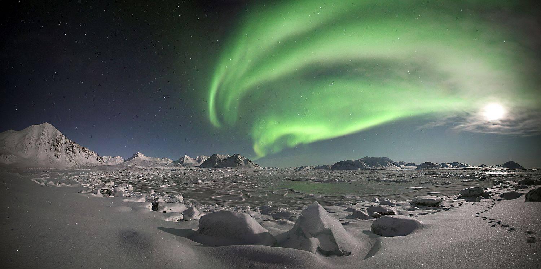 Polarlicht-Spitzbergen-Stockfoto